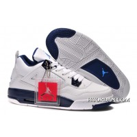 Women Air Jordan 4 Retro GS Columbia White/Legend Blue-Midnight Navy New Release