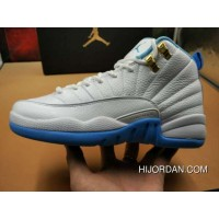 Women Sneakers Air Jordan XII Retro 216 AJ12 Girls White Blue Metallic Gold Best